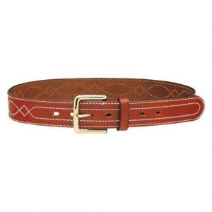 1C20 - Cintura in cuoio ingrassato con cuciture e fibbia in ottone - h 4 cm |